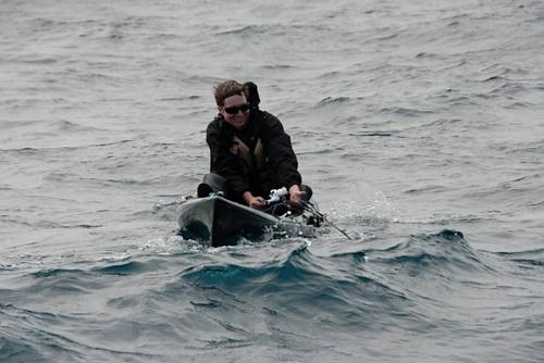 Matt Shepard being pulled sideways and backwards by a bluefin tuna.
