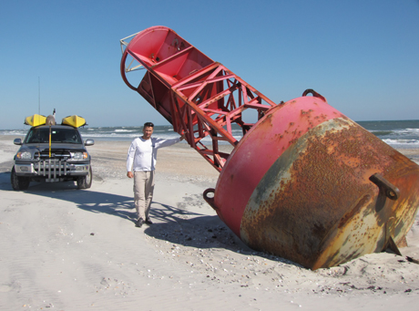 Buoy washed up on beach