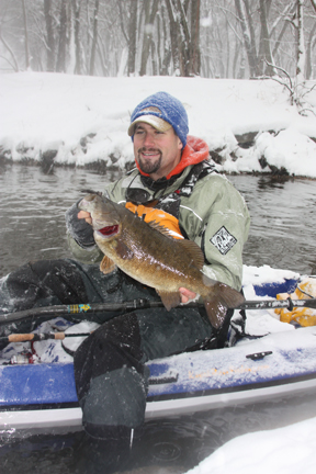 Jeff with a big wintertime smallmouth