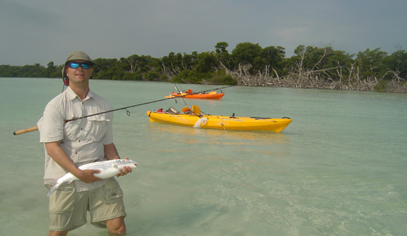 Nice bonefish caught on flat with kayaks