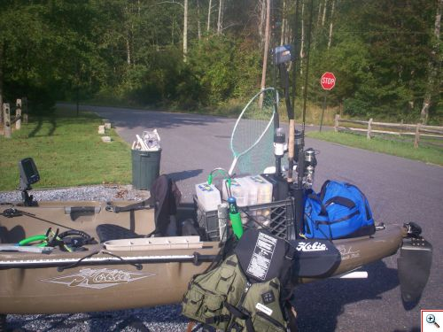 Ditch bag loaded on kayak