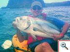 Costa Rica Roosterfish caught from a kayak